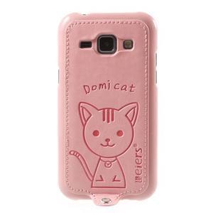 Obal s koženkovým chrbtom a mačičkou Domi pre Samsung Galaxy J1 -  ružová - 2