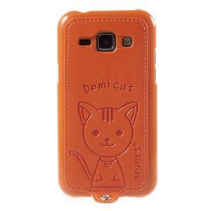 Obal s koženkovým chrbtom a mačičkou Domi pre Samsung Galaxy J1 -  oranžový - 2