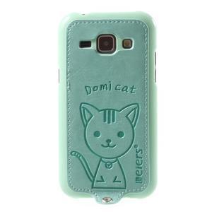 Obal s koženkovým chrbtom a mačičkou Domi pre Samsung Galaxy J1 -  azúrové - 2