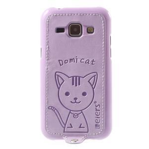 Obal s koženkovým chrbtom a mačičkou Domi pre Samsung Galaxy J1 - fialový - 2