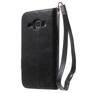 Koženkové puzdro s mačičkou Domi na Samsung Galaxy J1 - čierne - 2