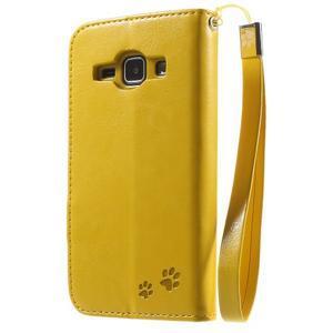 Koženkové puzdro s mačičkou Domi na Samsung Galaxy J1 - žlté - 2
