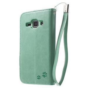 Koženkové puzdro s mačičkou Domi na Samsung Galaxy J1 - zelené - 2