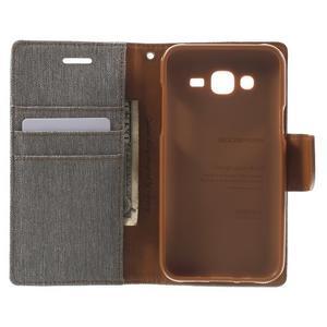 Luxury textilné/pu kožené puzdro pre Samsung Galaxy J5 - šedé - 2