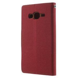 Luxury textilní/pu kožené puzdro na Samsung Galaxy J5 - červené - 2
