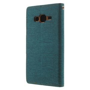 Luxury textilní/pu kožené puzdro na Samsung Galaxy J5 - zelenomodré - 2