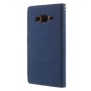 Luxury textilní/pu kožené puzdro na Samsung Galaxy J5 -  modré - 2