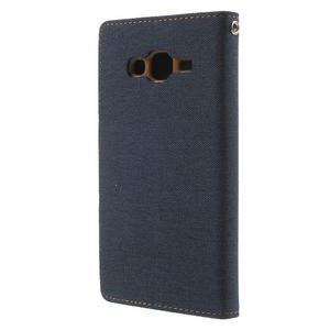 Luxury textilné/PU kožené puzdro pre Samsung Galaxy J5 -  tmavomodré - 2
