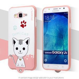 Gélový obal s mačičkou Domi s koženkovým chrbtom na Samsung Galaxy J5 - biely - 2