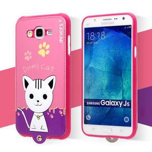Gélový obal s mačičkou Domi s koženkovým chrbtom na Samsung Galaxy J5 - rose - 2
