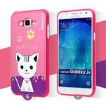 Gélový obal s mačičkou Domi s koženkovým chrbtom na Samsung Galaxy J5 - rose - 2/6