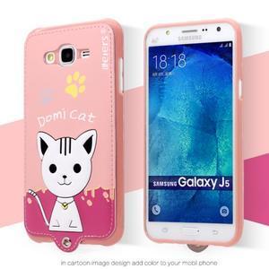 Gélový obal s mačičkou Domi s koženkovým chrbtom pre Samsung Galaxy J5 - ružové - 2