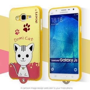Gélový obal s mačičkou Domi s koženkovým chrbtom pre Samsung Galaxy J5 - žlté - 2