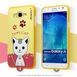 Gélový obal s mačičkou Domi s koženkovým chrbtom pre Samsung Galaxy J5 - žlté - 2/3