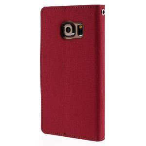 Luxury textilné / koženkové puzdro pre Samsung Galaxy S6 Edge - červené - 2