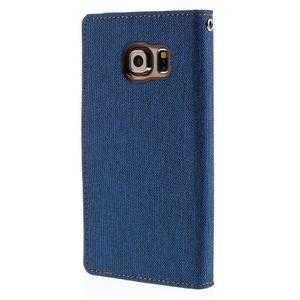 Luxury textilné / koženkové puzdro pre Samsung Galaxy S6 Edge - modré - 2