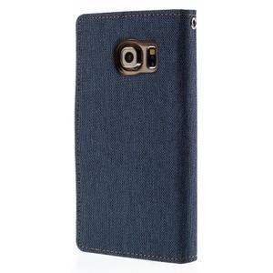 Luxury textilné / koženkové puzdro pre Samsung Galaxy S6 Edge - jeans - 2