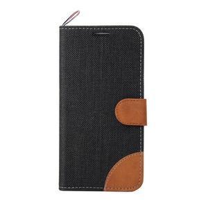 Jeans textilní/pu kožené puzdro na Samsung Galaxy S6 Edge - čierne - 2