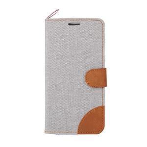 Jeans textilní/pu kožené puzdro na Samsung Galaxy S6 Edge - šedé - 2