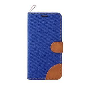Jeans textilní/pu kožené puzdro na Samsung Galaxy S6 Edge - modré - 2