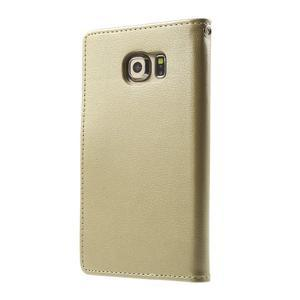 Wallet PU kožené puzdro pre Samsung Galaxy S6 Edge G925 - champagne - 2
