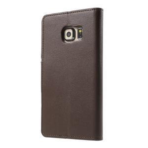 Wallet PU kožené puzdro pre Samsung Galaxy S6 Edge G925 -  tmavohnedé - 2