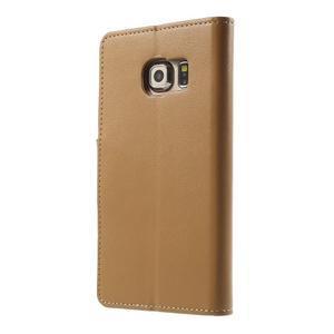 Wallet PU kožené puzdro na Samsung Galaxy S6 Edge G925 -  hnedé - 2