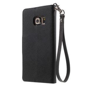 Diary PU kožené puzdro na Samsung Galaxy S6 Edge - čierne - 2
