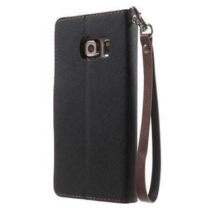 Diary PU kožené puzdro na Samsung Galaxy S6 Edge - čierne/hnede - 2