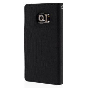 Luxury textilné / koženkové puzdro pre Samsung Galaxy S6 Edge - čierne - 2