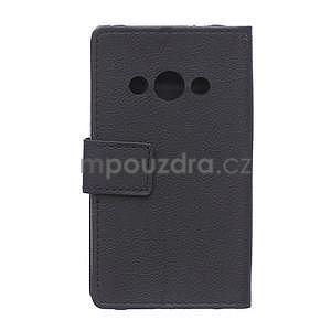 Peňaženkové pu kožené puzdro na Samsung Galaxy Xcover 3 - čierne - 2