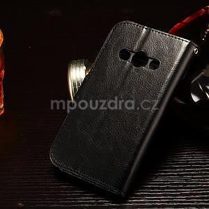 Koženkové peňaženkové puzdro pre Samsung Galaxy Xcover 3 - čierne - 2