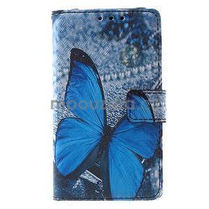 Štýlové peňaženkové puzdro pre Samsung Galaxy Xcover 3 - modrý motýľ - 2