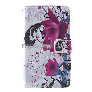 Štýlové peňaženkové puzdro pre Samsung Galaxy Xcover 3 - fialové kvety - 2