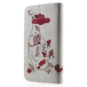 Vzorové peňaženkové puzdro na Samsung Galaxy Xcover 3 - červené kvety - 2