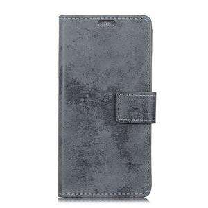 Retro PU kožené peňaženkové puzdro na mobil Nokia 2.1 - sivé - 2