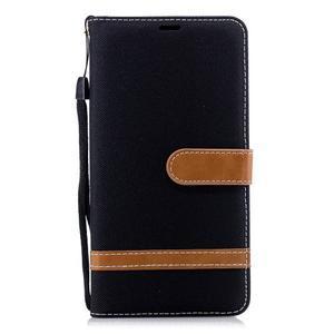 Jeans PU kožené/textilné puzdro na mobil Nokia 2.1 - čierne - 2