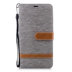 Jeans PU kožené/textilné puzdro na mobil Nokia 2.1 - sivé - 2