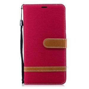 Jeans PU kožené/textilné puzdro na mobil Nokia 2.1 - červené - 2