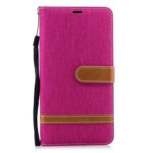 Jeans PU kožené/textilné puzdro na mobil Nokia 2.1 - rose - 2