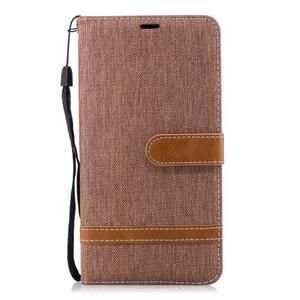 Jeans PU kožené/textilné puzdro na mobil Nokia 2.1 - khaki - 2