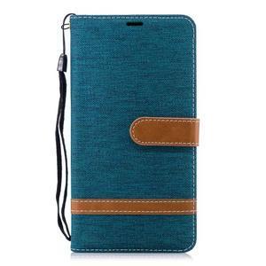 Jeans PU kožené/textilné puzdro na mobil Nokia 2.1 - zelené - 2