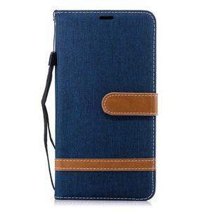 Jeans PU kožené/textilné puzdro na mobil Nokia 2.1 - tmavomodré - 2