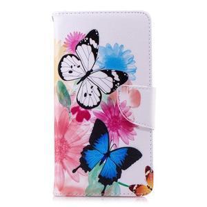 Print PU kožené flipové puzdro na mobil Nokia 2.1 - motýlkovia a kvety - 2