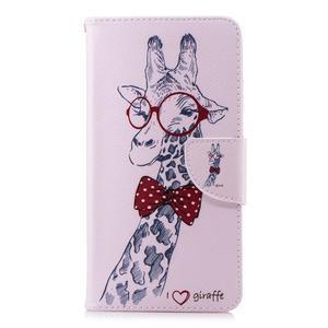 Print PU kožené flipové puzdro na mobil Nokia 2.1 - žirafa s okuliarmi - 2