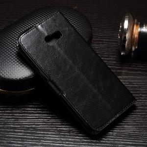 Francis PU kožené puzdro pre Samsung Galaxy A3 (2017) - čierne - 2