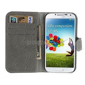 PU kožené peňaženkové puzdro pre Samsung Galaxy S4 - šedé - 2