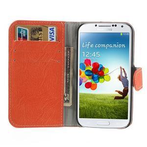 PU kožené peňaženkové puzdro pre Samsung Galaxy S4 - oranžové - 2