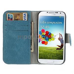 PU kožené peněženkové pouzdro na Samsung Galaxy S4 - modré - 2