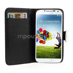 PU kožené peňaženkové puzdro s hadím motívom pre Samsung Galaxy S4 - biele - 2
